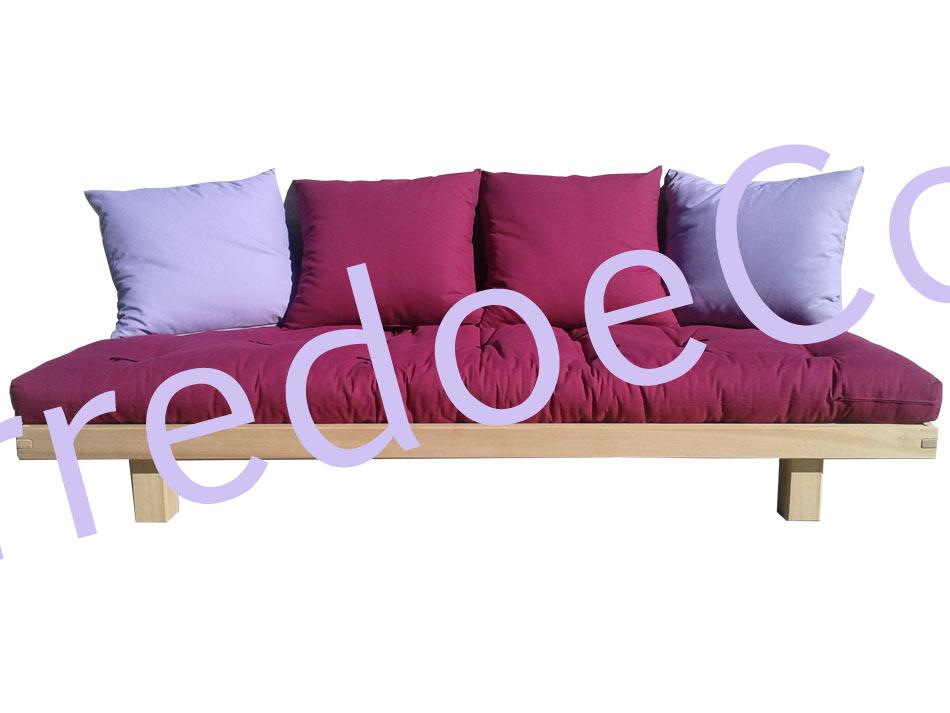 Letto divano Wood in legno massello con Futon